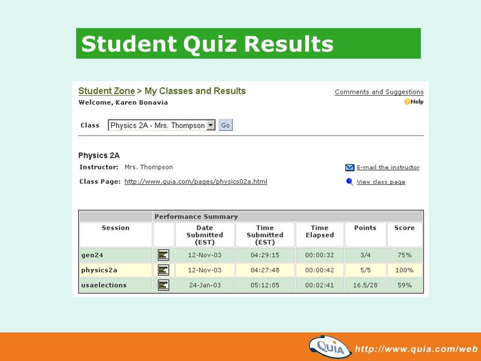 Student Quiz Results