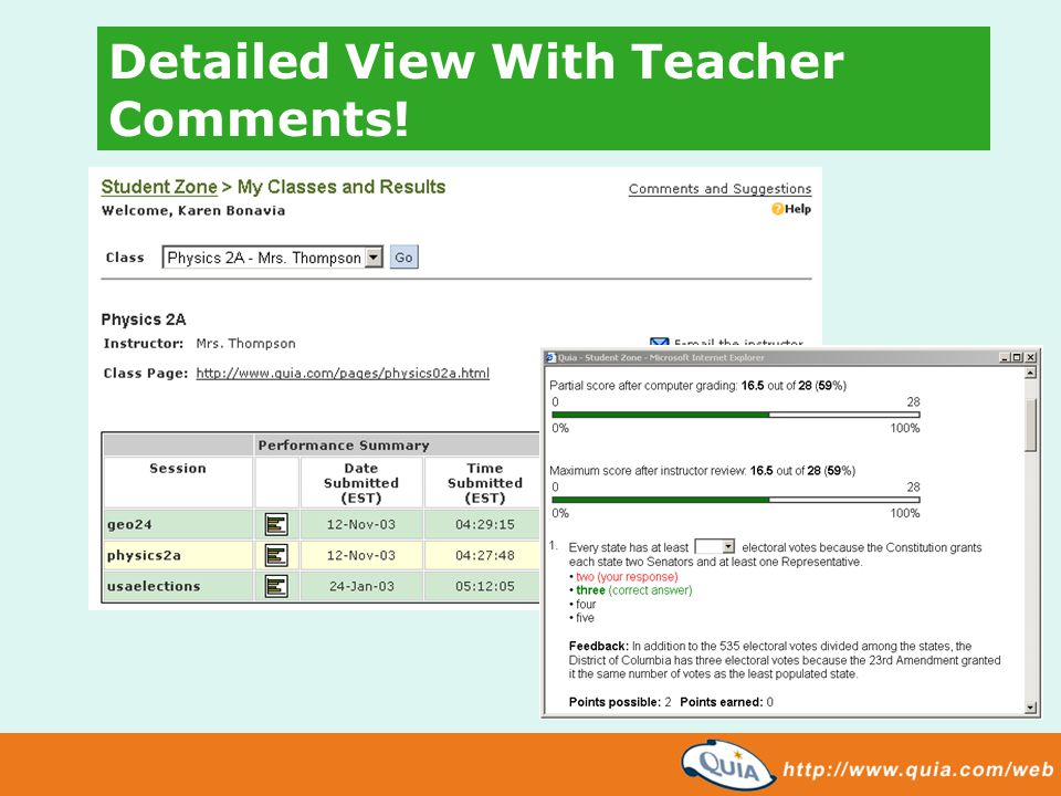 Detailed View With Teacher Comments!