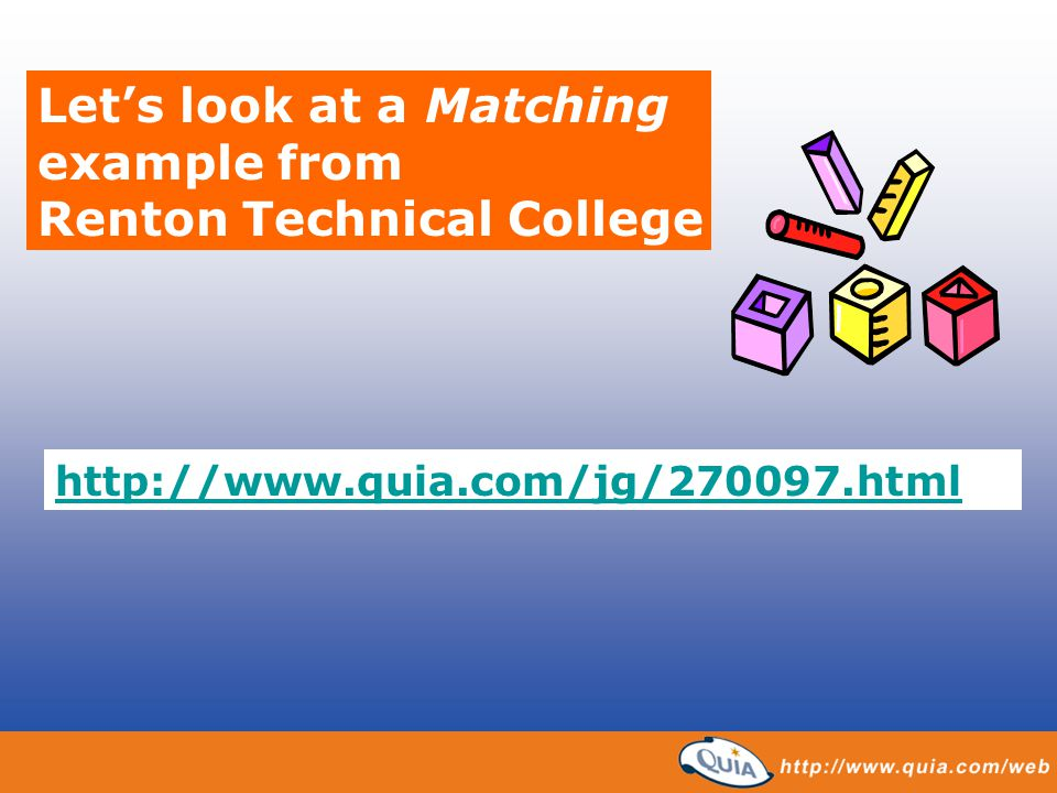 Let's look at a Matching example from Renton Technical College