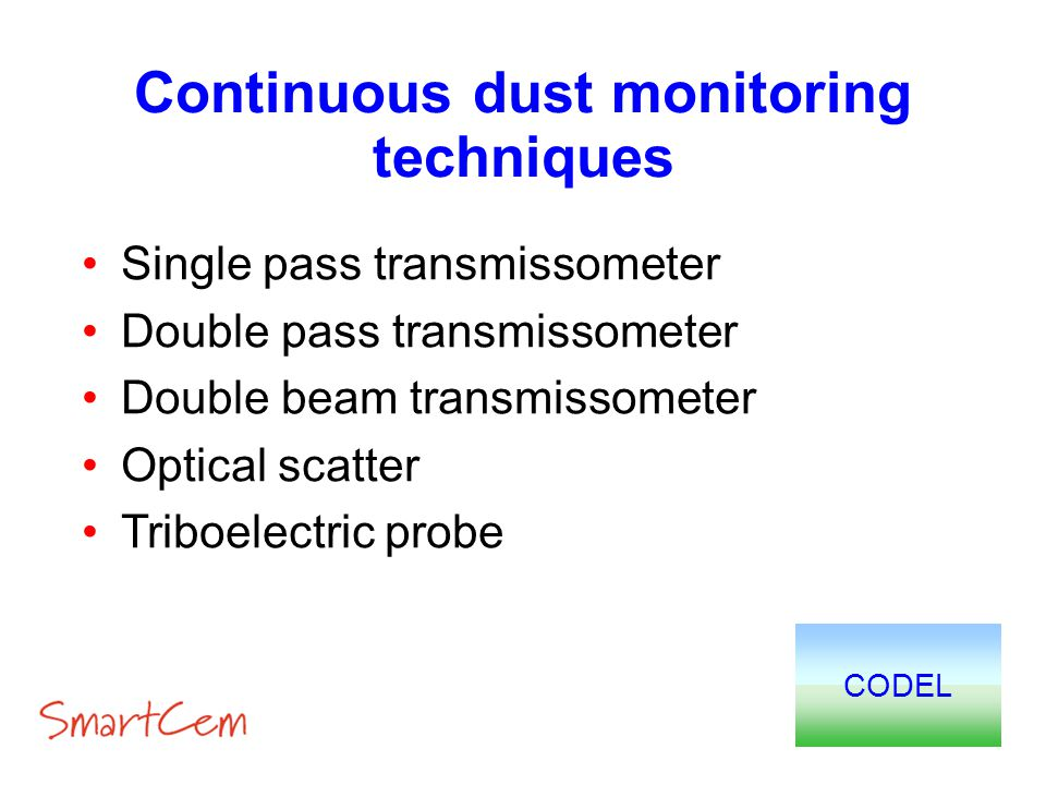 Continuous dust monitoring techniques