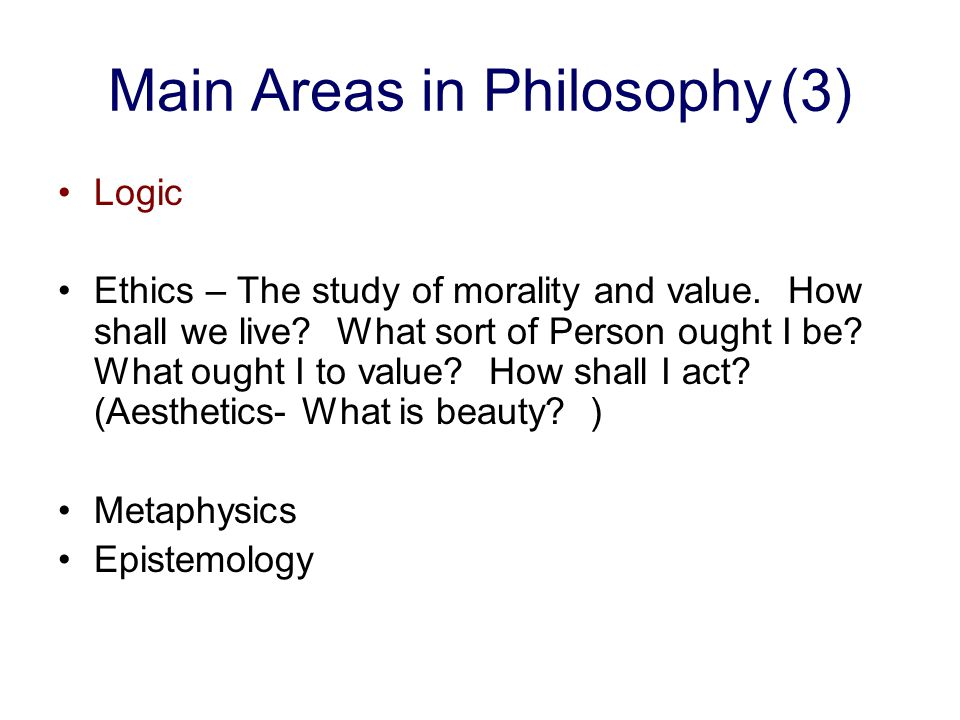 Main Areas in Philosophy (3)