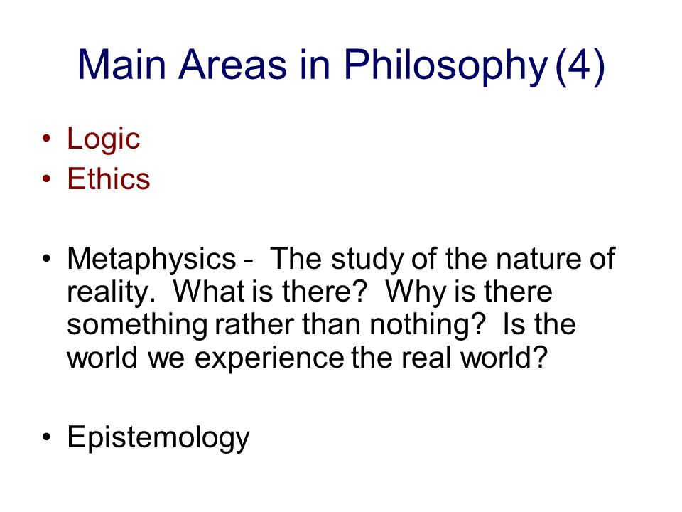 Main Areas in Philosophy (4)