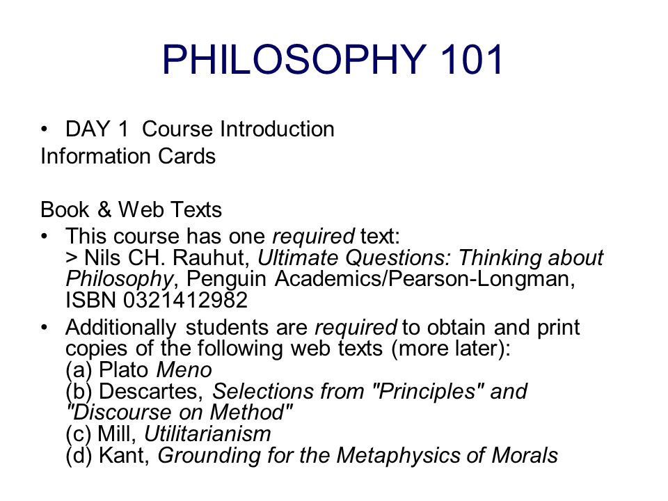 PHILOSOPHY 101 DAY 1 Course Introduction Information Cards