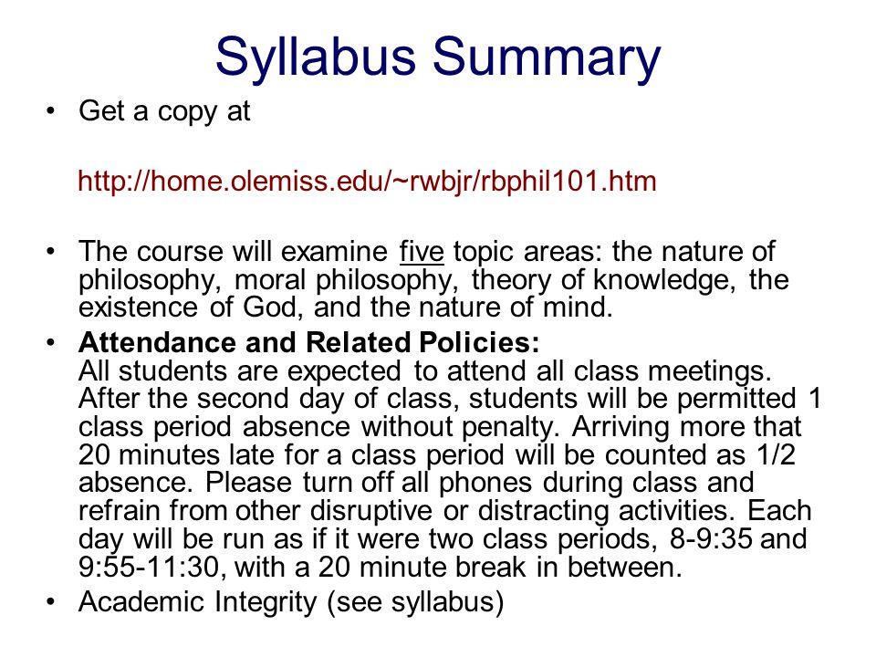 Syllabus Summary Get a copy at