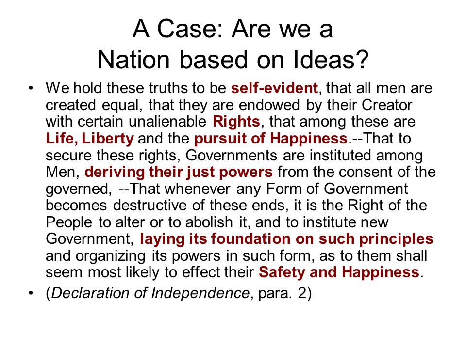 A Case: Are we a Nation based on Ideas
