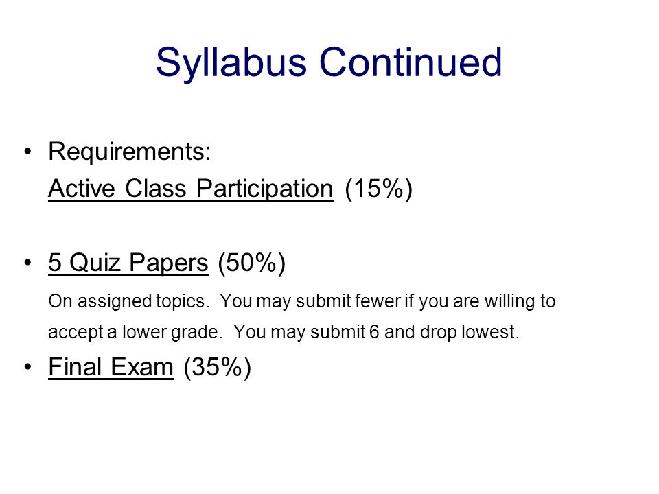 Syllabus Continued Requirements: Active Class Participation (15%)