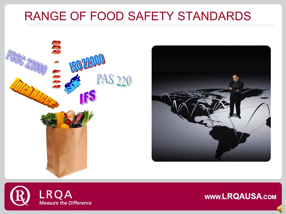 RANGE OF FOOD SAFETY STANDARDS