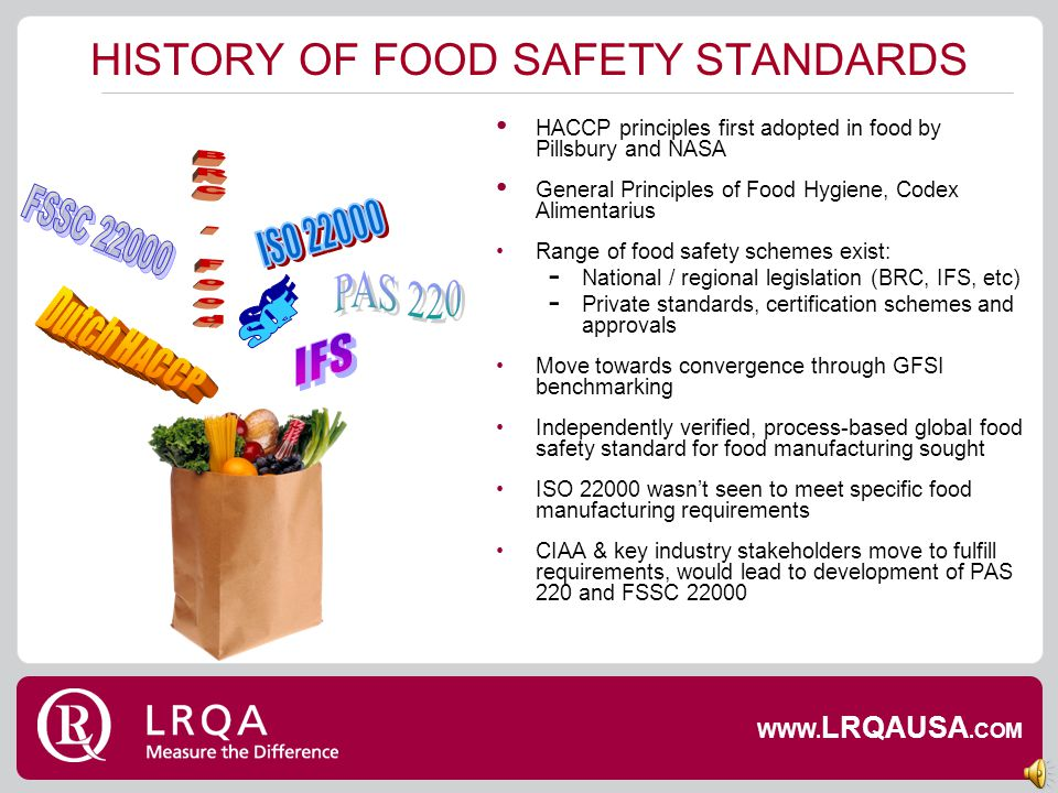 HISTORY OF FOOD SAFETY STANDARDS
