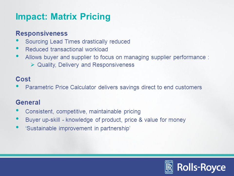 Impact: Matrix Pricing