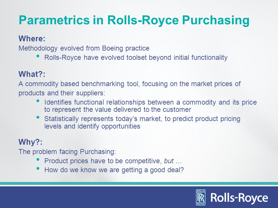 Parametrics in Rolls-Royce Purchasing