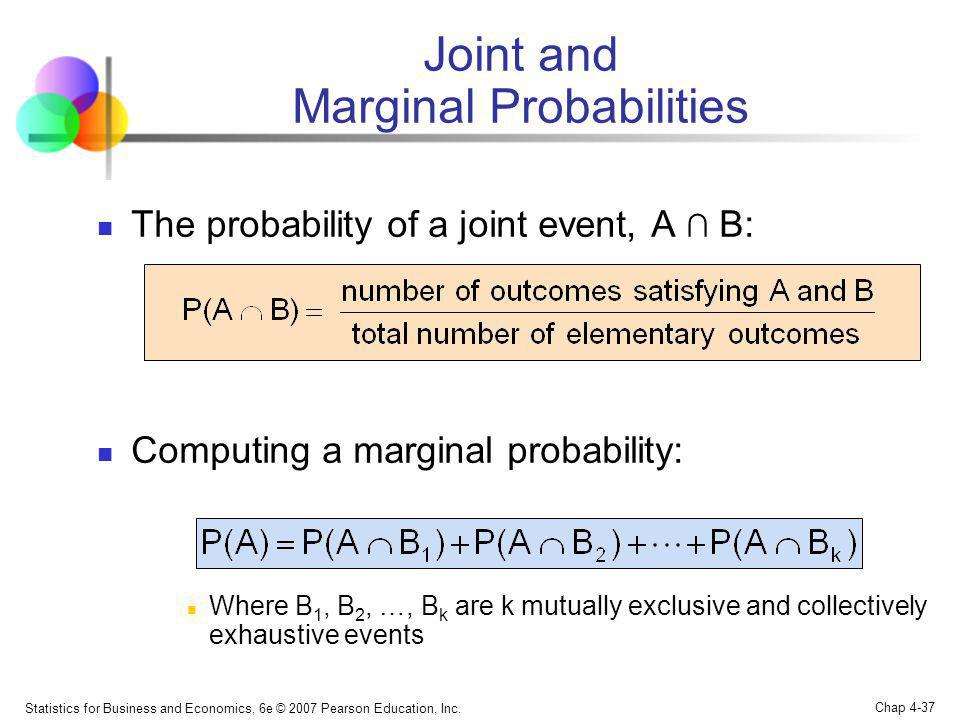 Joint and Marginal Probabilities