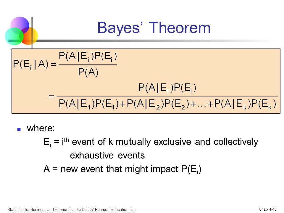 Bayes' Theorem where: Ei = ith event of k mutually exclusive and collectively. exhaustive events.