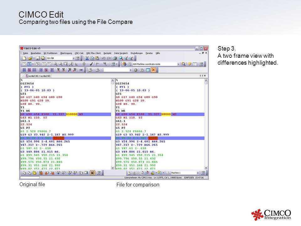 CIMCO Edit Comparing two files using the File Compare Step 3.