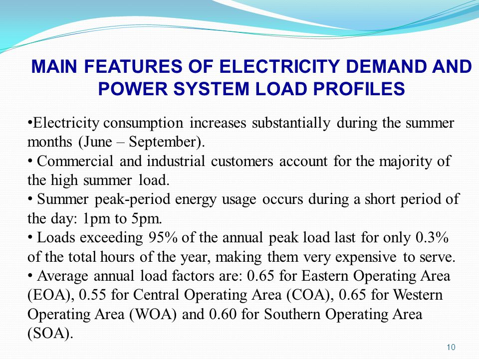 MAIN FEATURES OF ELECTRICITY DEMAND AND POWER SYSTEM LOAD PROFILES