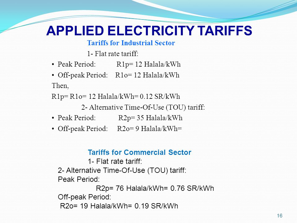 APPLIED ELECTRICITY TARIFFS