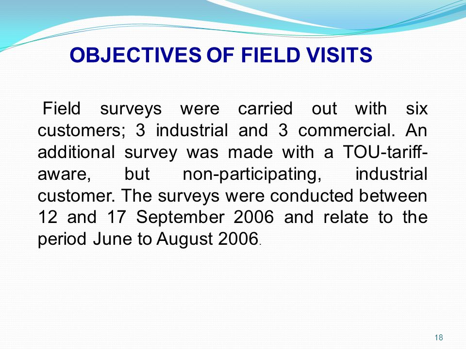 OBJECTIVES OF FIELD VISITS