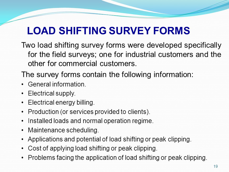 LOAD SHIFTING SURVEY FORMS