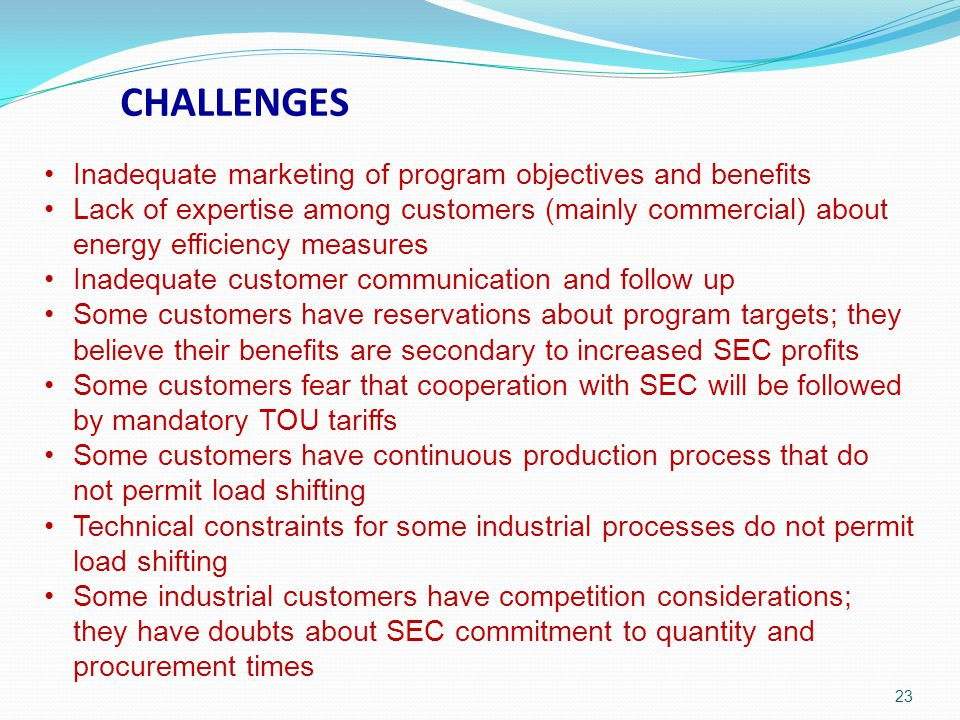 CHALLENGES Inadequate marketing of program objectives and benefits
