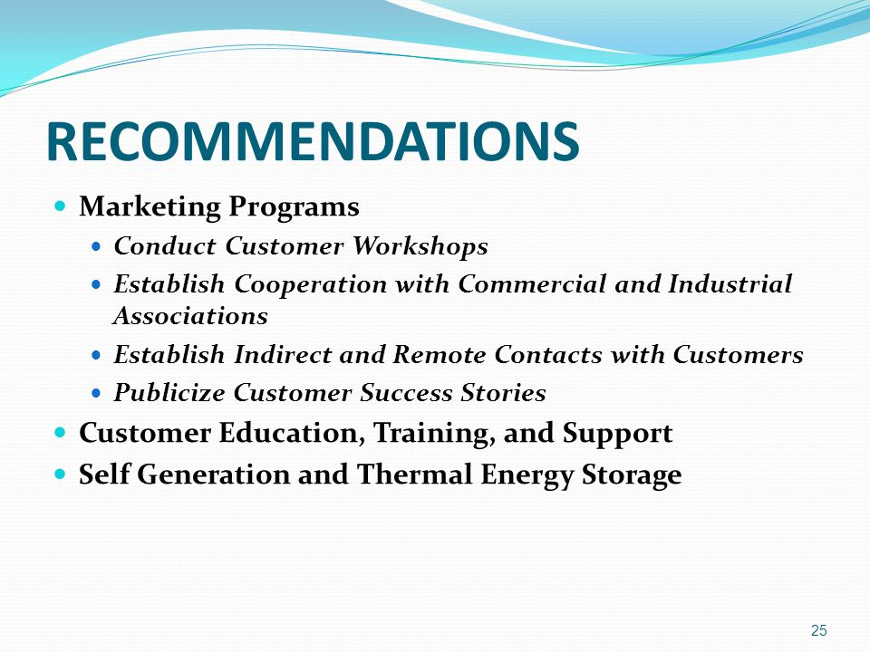 RECOMMENDATIONS Marketing Programs