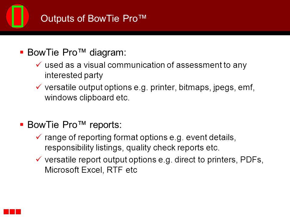 Outputs of BowTie Pro™ BowTie Pro™ diagram: BowTie Pro™ reports:
