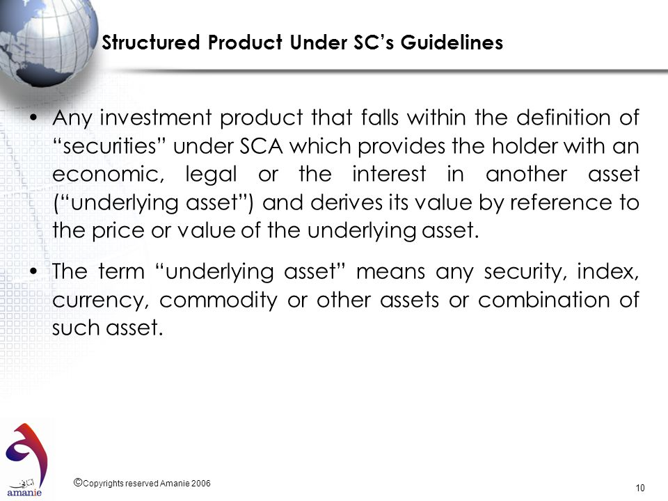 Structured Product Under SC's Guidelines