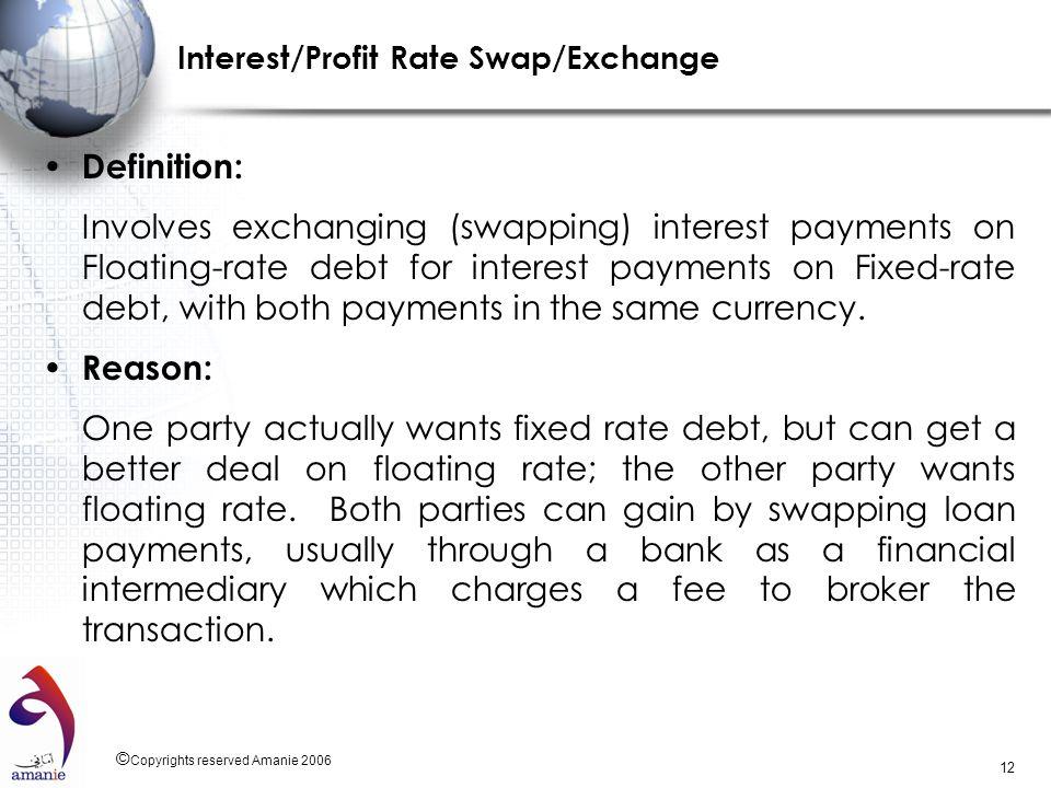 Interest/Profit Rate Swap/Exchange
