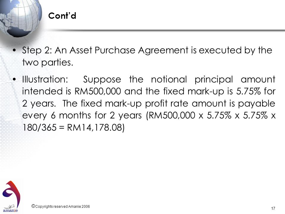 Step 2: An Asset Purchase Agreement is executed by the two parties.