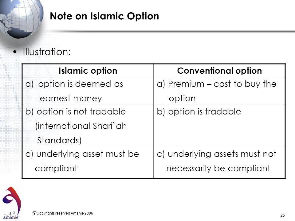 Note on Islamic Option Illustration: Islamic option