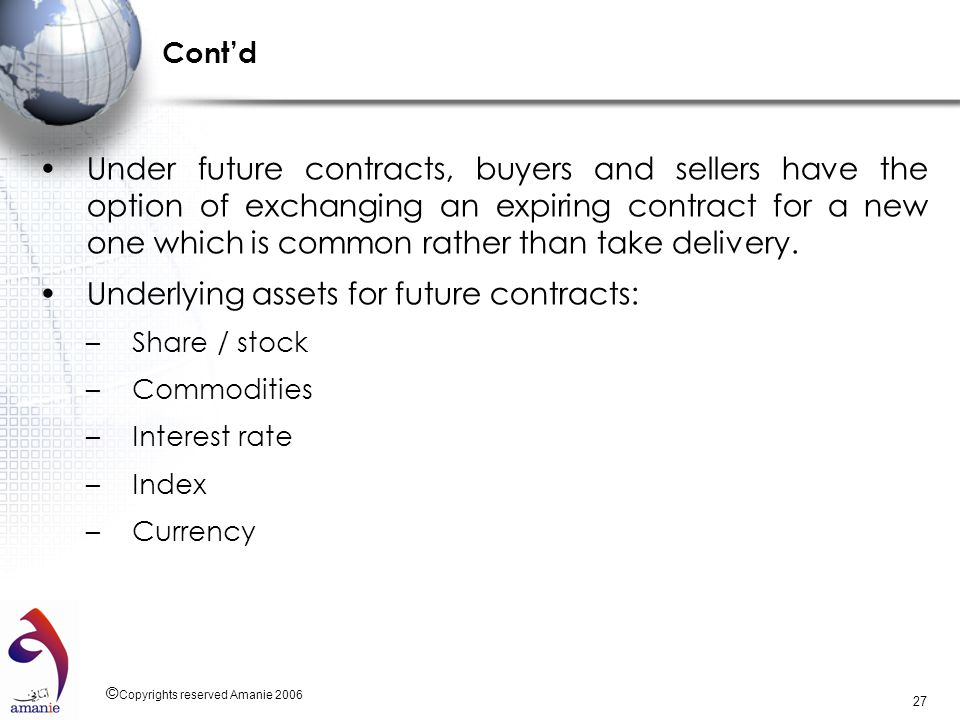Underlying assets for future contracts: