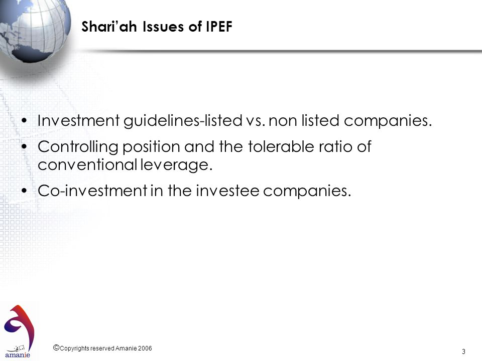 Shari'ah Issues of IPEF