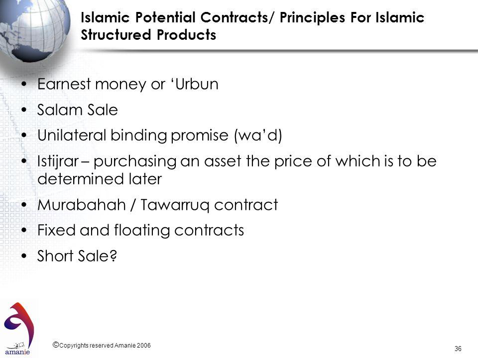 Earnest money or 'Urbun Salam Sale Unilateral binding promise (wa'd)