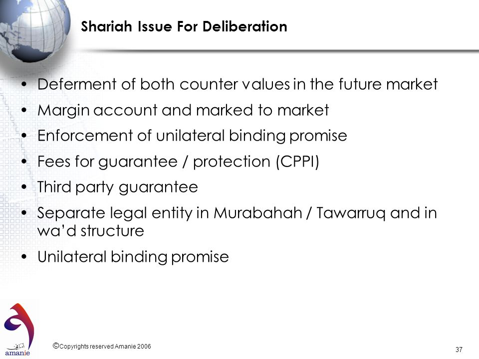 Shariah Issue For Deliberation