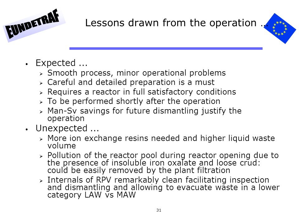 Lessons drawn from the operation …