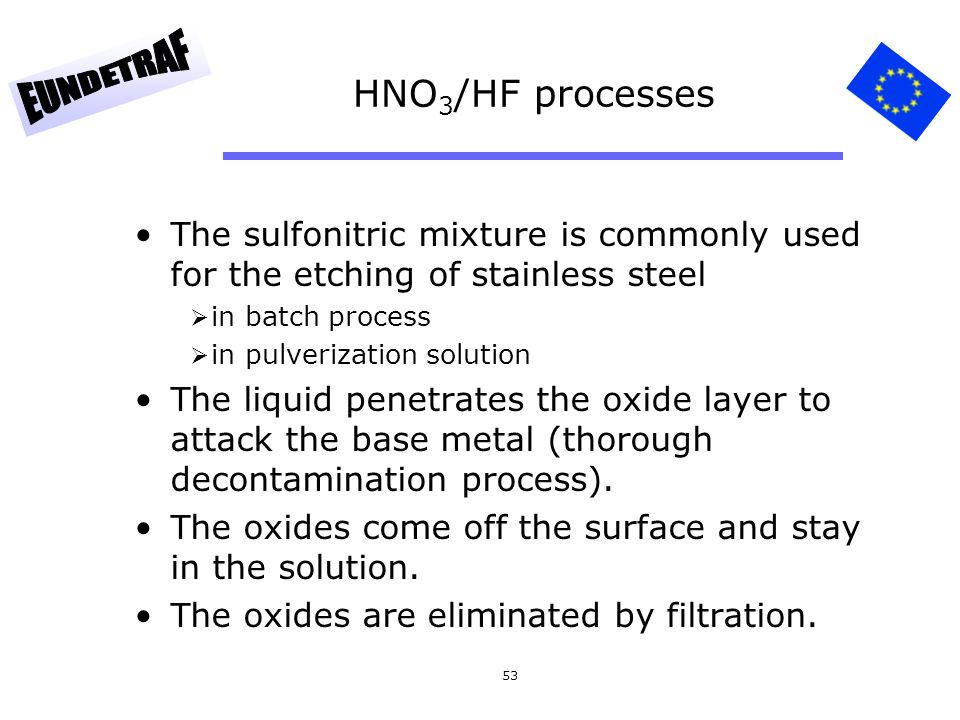 HNO3/HF processes The sulfonitric mixture is commonly used for the etching of stainless steel. in batch process.