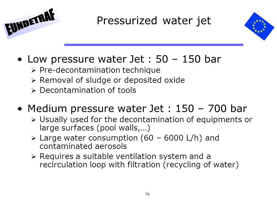 Pressurized water jet Low pressure water Jet : 50 – 150 bar