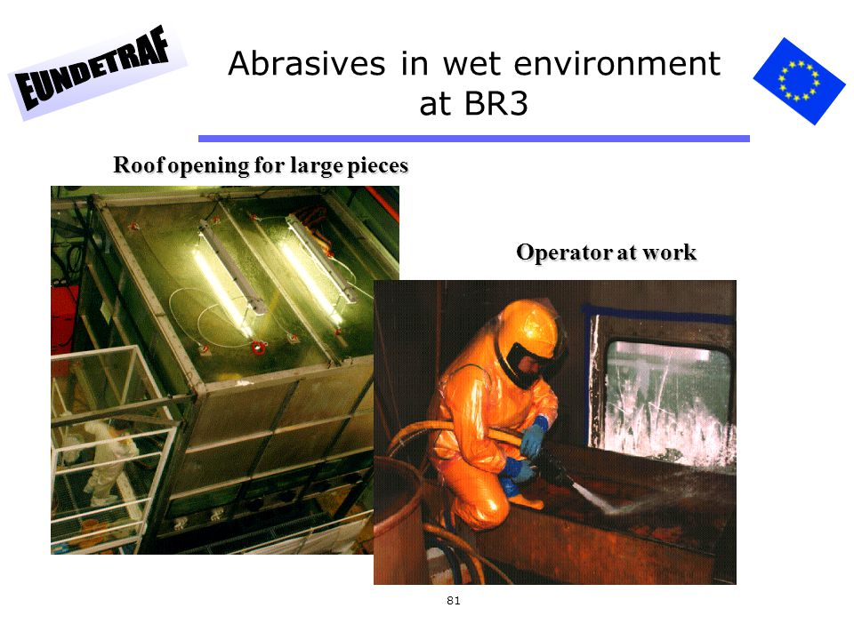Abrasives in wet environment at BR3