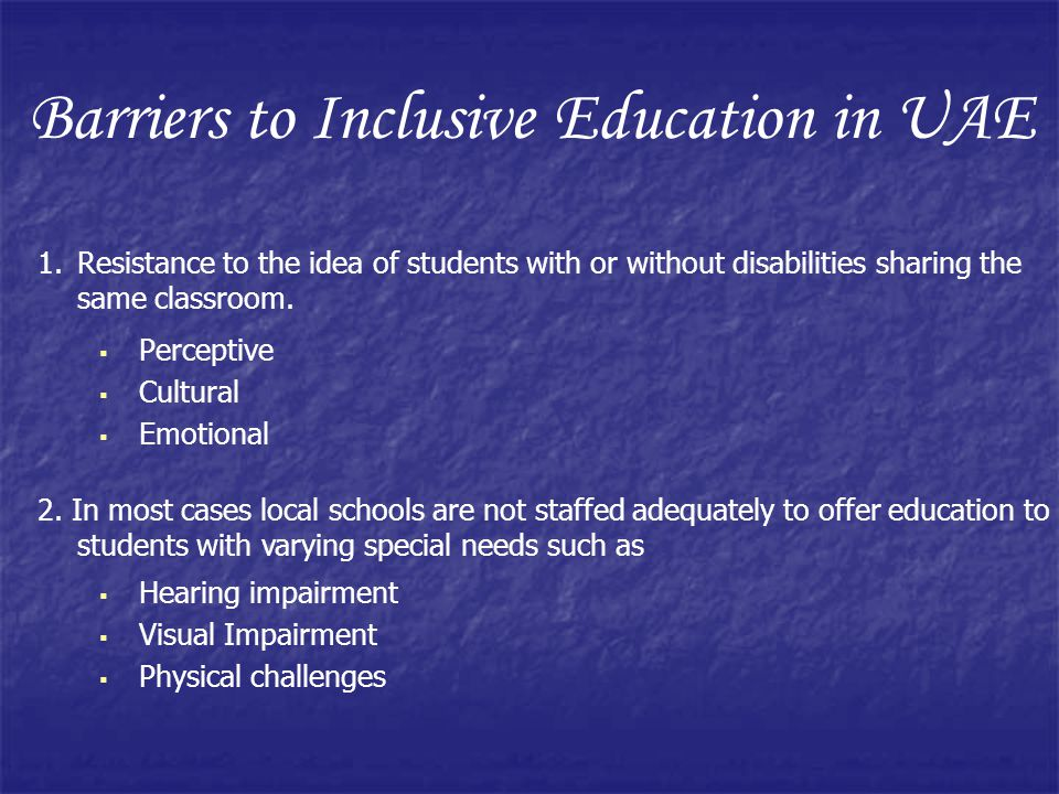 Barriers to Inclusive Education in UAE