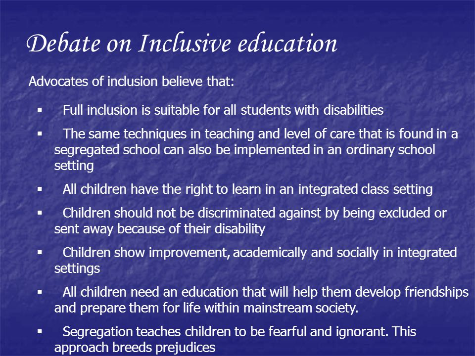 Debate on Inclusive education