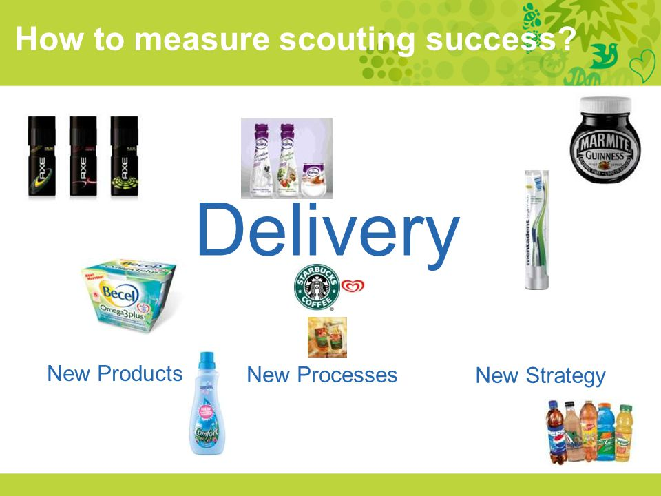 Delivery How to measure scouting success New Products New Processes