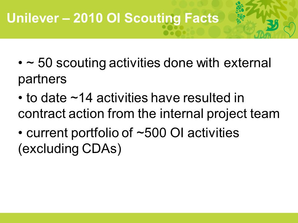 Unilever – 2010 OI Scouting Facts