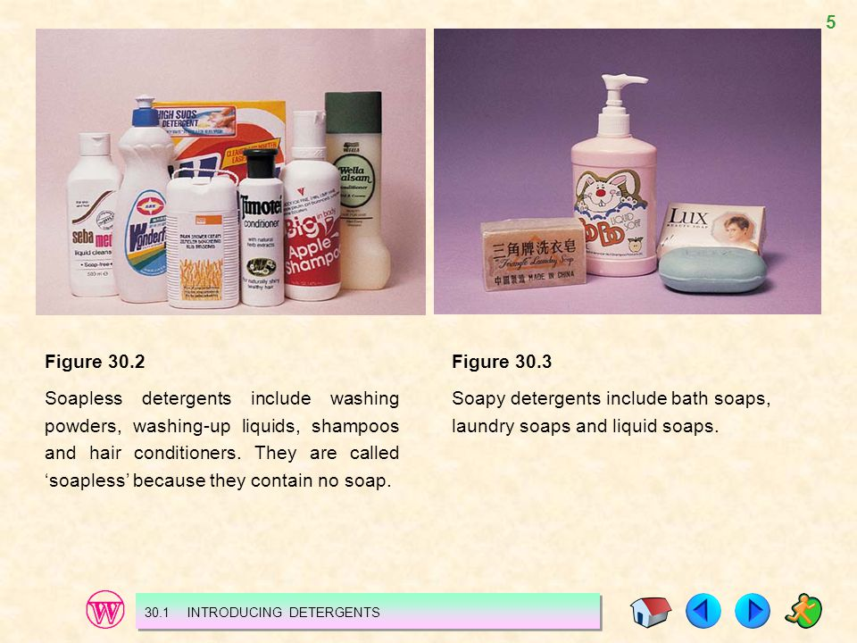 Soapy detergents include bath soaps, laundry soaps and liquid soaps.