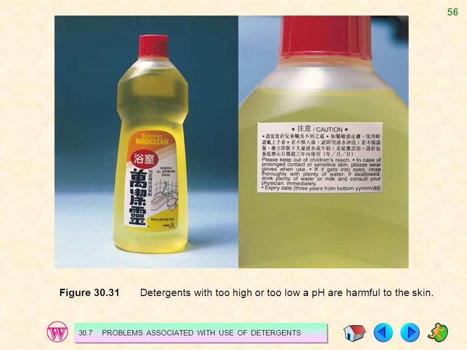 Figure 30.31 Detergents with too high or too low a pH are harmful to the skin.