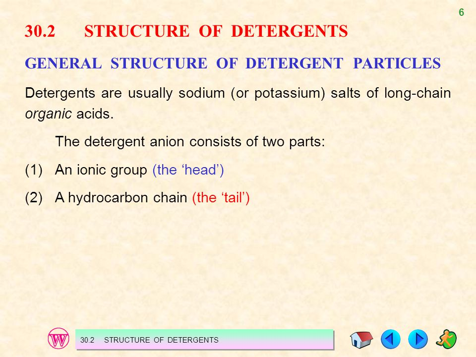 30.2 STRUCTURE OF DETERGENTS