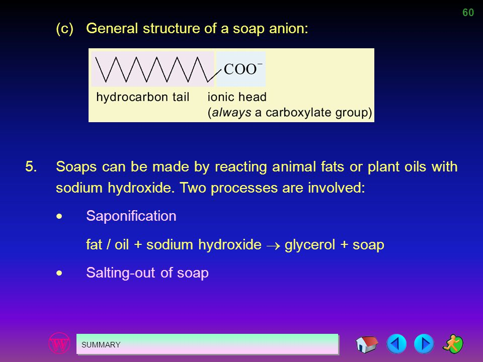 (c) General structure of a soap anion: