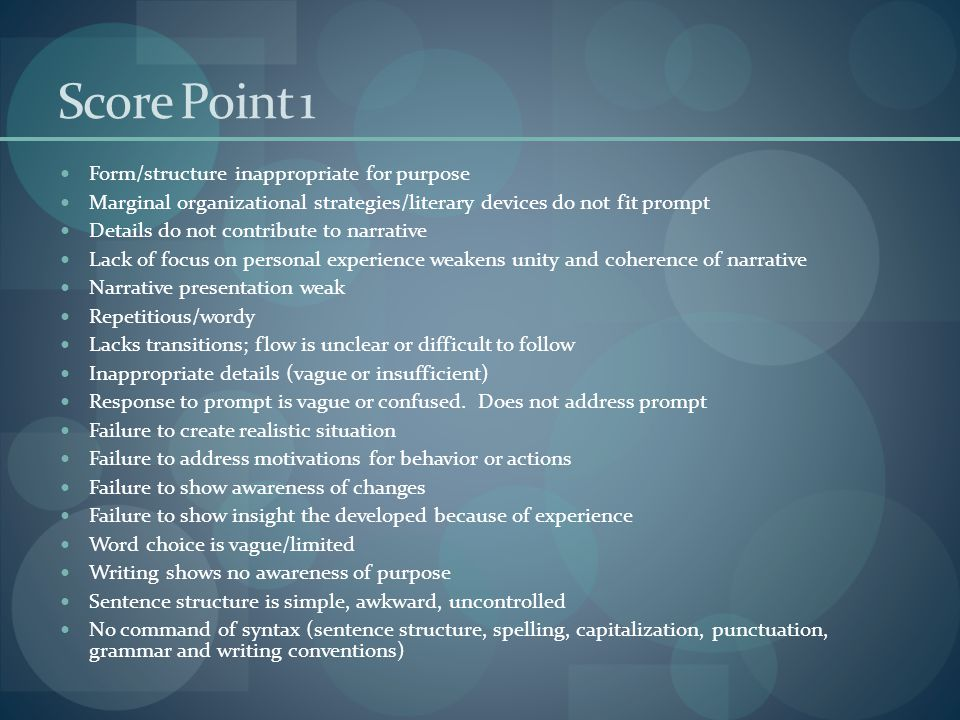 Score Point 1 Form/structure inappropriate for purpose