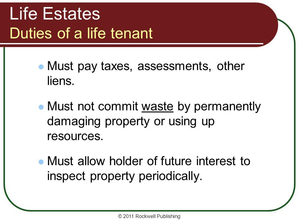 Life Estates Duties of a life tenant