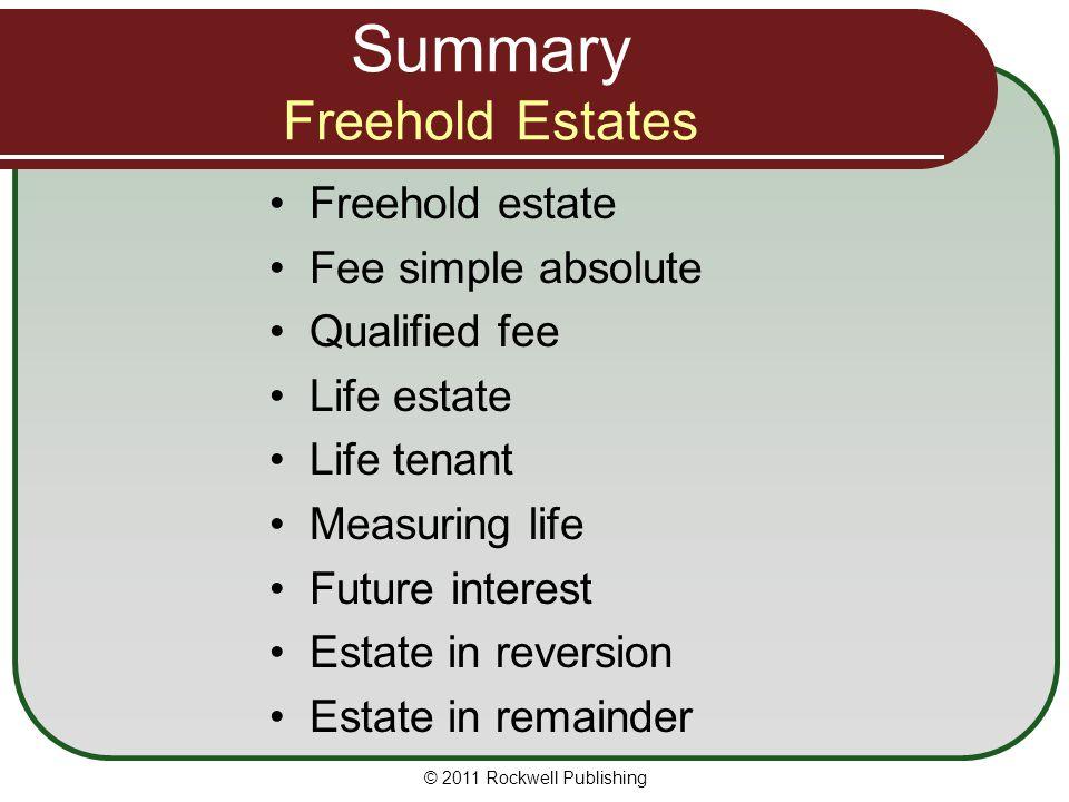 Summary Freehold Estates