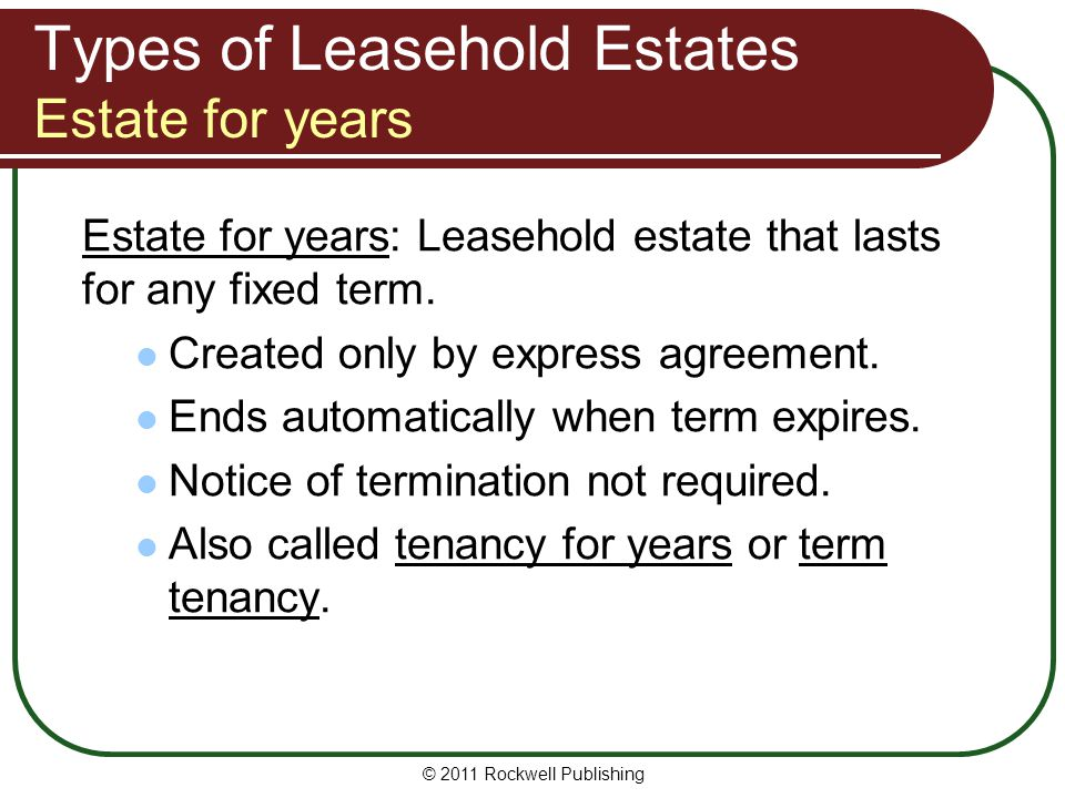 Types of Leasehold Estates Estate for years