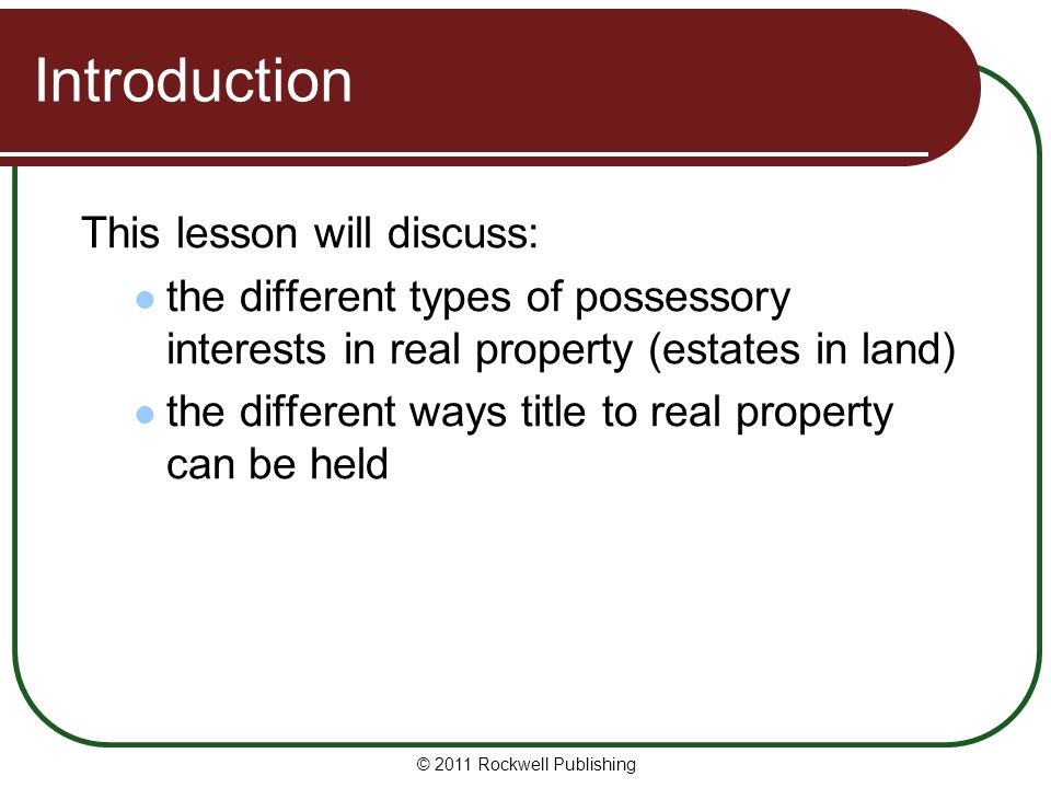 Introduction This lesson will discuss: