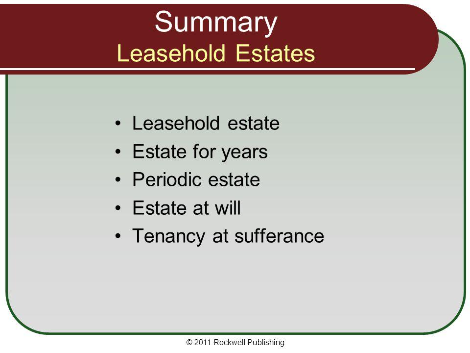 Summary Leasehold Estates